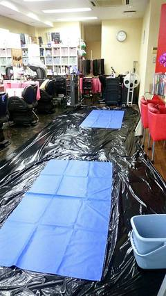 松山市二番町美容室様業務用エアコンクリーニング